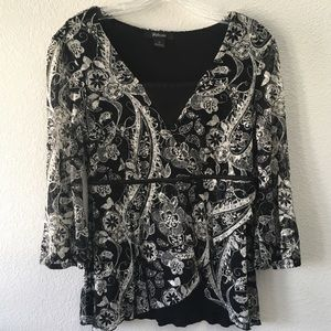 STYLE &CO 3/4 sleeve lace overlay blouse